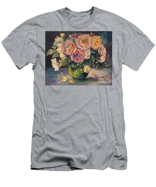 Men's T-Shirt (Athletic Fit) featuring the painting Apricot Roses In Green Vase by Ryn Shell