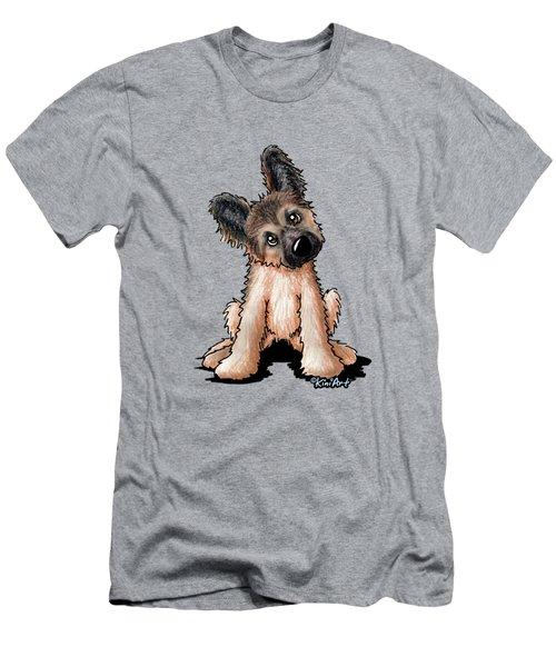 Curious Shepherd Puppy Men's T-Shirt (Athletic Fit)