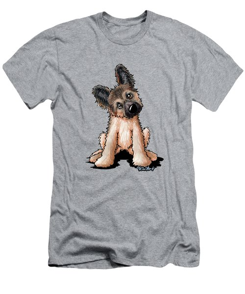 Curious Shepherd Puppy Men's T-Shirt (Slim Fit)