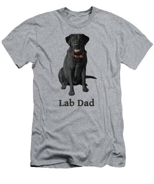 Black Labrador Retriever Lab Dad Men's T-Shirt (Slim Fit) by Crista Forest