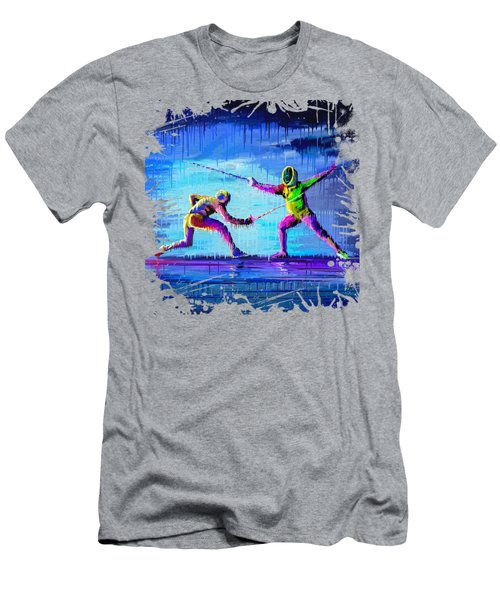 Sword Sparring Painting Men's T-Shirt (Athletic Fit)