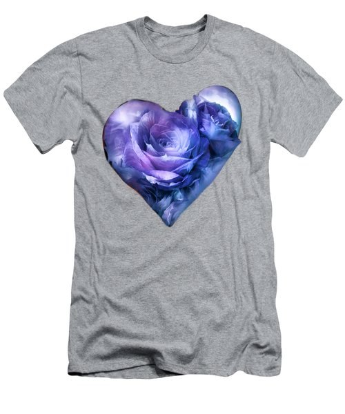 Men's T-Shirt (Slim Fit) featuring the mixed media Heart Of A Rose - Lavender Blue by Carol Cavalaris