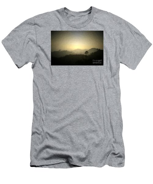 Ascend The Hill Of The Lord - Digital Paint Effect Men's T-Shirt (Slim Fit) by Sharon Soberon
