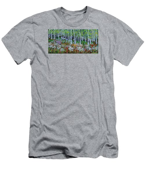 Aspens And Wildflowers Men's T-Shirt (Slim Fit) by Mike Caitham