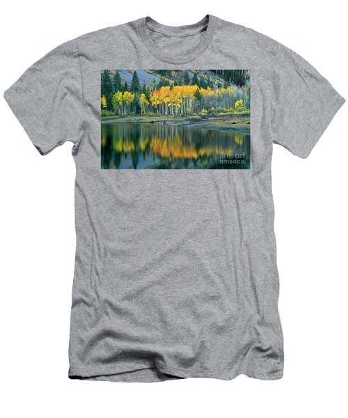 Aspens In Fall Color Along Lundy Lake Eastern Sierras California Men's T-Shirt (Athletic Fit)