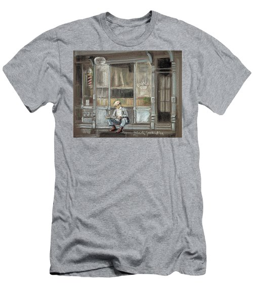 At The Barber Shop Men's T-Shirt (Slim Fit) by Marty Garland