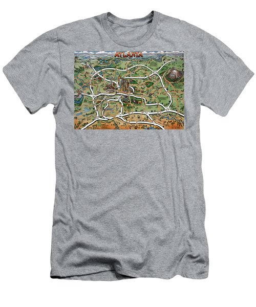 Men's T-Shirt (Slim Fit) featuring the painting Atlanta Cartoon Map by Kevin Middleton
