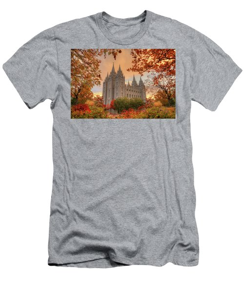 Men's T-Shirt (Athletic Fit) featuring the photograph Autumn At Temple Square by Dustin  LeFevre