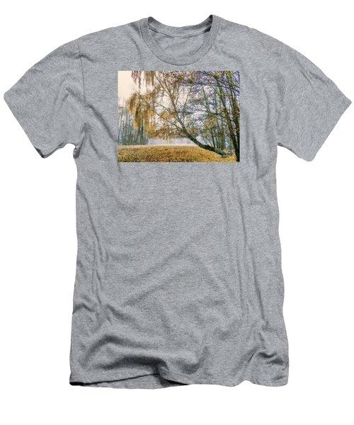 Autumn Colorful Birch Trees Paint Men's T-Shirt (Slim Fit) by Odon Czintos
