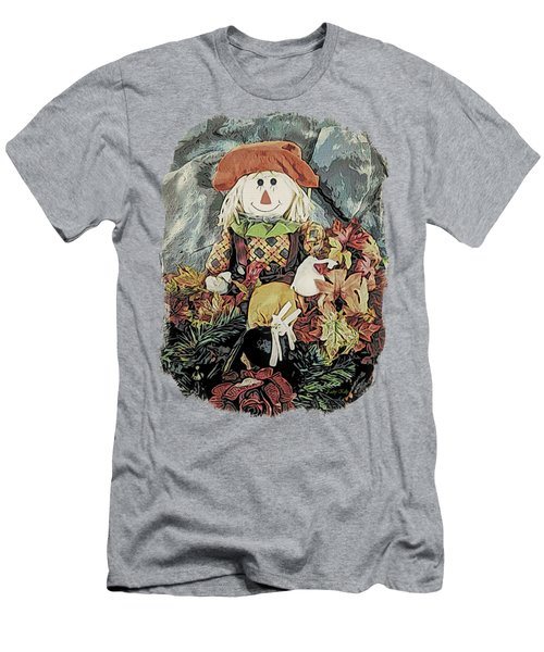 Men's T-Shirt (Slim Fit) featuring the digital art Autumn Country Scarecrow by Kathy Kelly