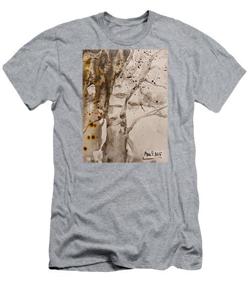 Men's T-Shirt (Slim Fit) featuring the painting Autumn Human Face Tree by AmaS Art