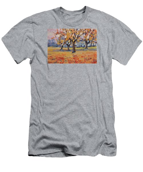 Men's T-Shirt (Slim Fit) featuring the painting Autumn In The Villa Park Maastricht by Nop Briex