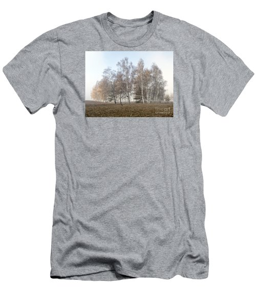 Autumn Landscape In A Birch Forest With Fog Men's T-Shirt (Slim Fit) by Odon Czintos