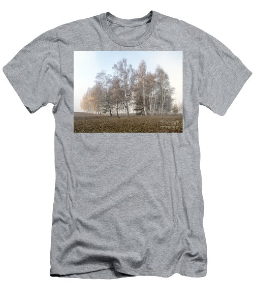 Autumn Landscape In A Birch Forest With Fog Men's T-Shirt (Athletic Fit)