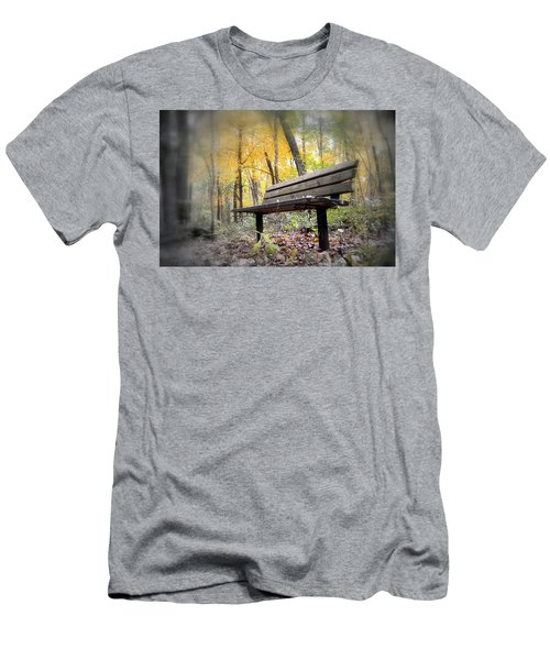 Autumn Park Bench Men's T-Shirt (Slim Fit) by Bonfire Photography