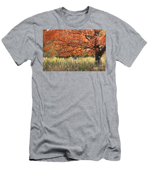 Men's T-Shirt (Slim Fit) featuring the photograph Autumn Red   by Paula Guttilla