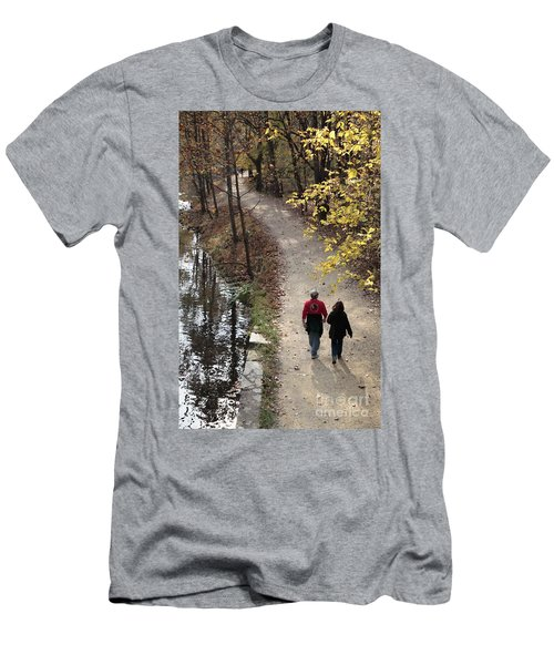 Autumn Walk On The C And O Canal Towpath With Oil Painting Effect Men's T-Shirt (Athletic Fit)