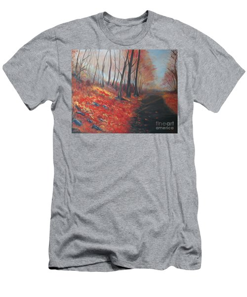 Men's T-Shirt (Slim Fit) featuring the painting Autumns Pathway by Leslie Allen