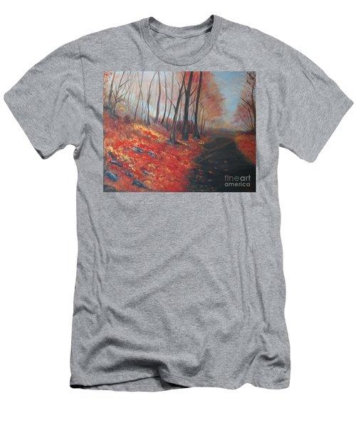 Autumns Pathway Men's T-Shirt (Slim Fit) by Leslie Allen
