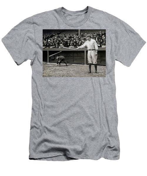 Babe Ruth At Bat Men's T-Shirt (Slim Fit)