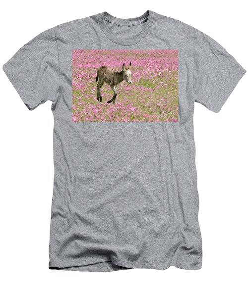 Men's T-Shirt (Slim Fit) featuring the photograph Baby Donkey In The Flowers by Myrna Bradshaw