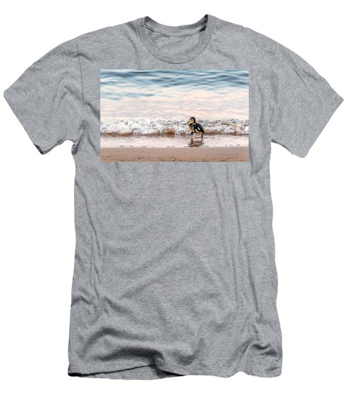 Baby Duck Running On A Beach Into The Waves Men's T-Shirt (Athletic Fit)