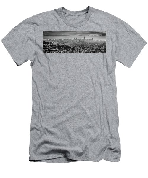 Back And White View Of Downtown San Francisco In A Foggy Day Men's T-Shirt (Athletic Fit)