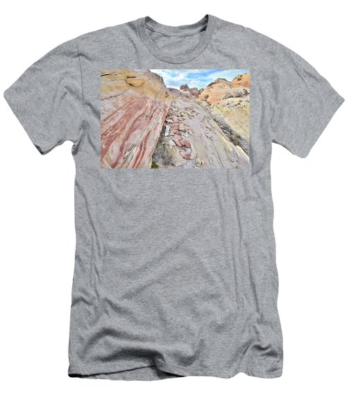 Back Country Valley Of Fire Men's T-Shirt (Slim Fit) by Ray Mathis