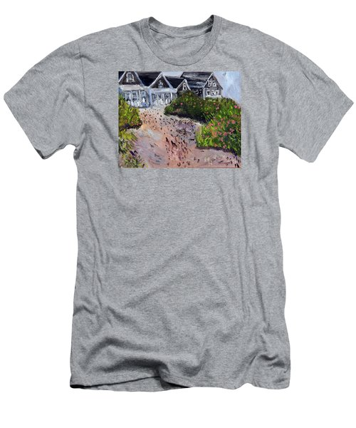 Men's T-Shirt (Slim Fit) featuring the painting Back From The Beach by Michael Helfen