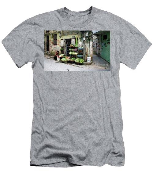 Back Street Veggies Store I Men's T-Shirt (Slim Fit) by Chuck Kuhn