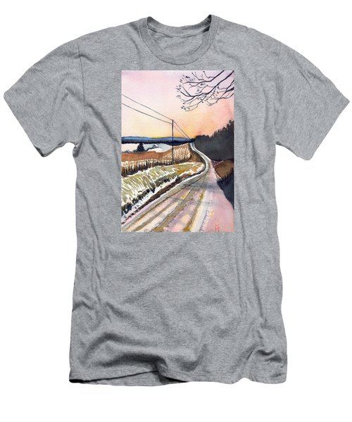 Men's T-Shirt (Slim Fit) featuring the painting Backlit Roads by Katherine Miller