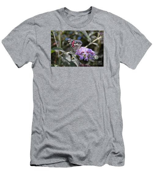 Backyard Buckeye Butterfly Men's T-Shirt (Slim Fit) by Debra Thompson