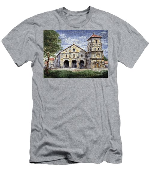 Men's T-Shirt (Slim Fit) featuring the painting Baclayon Church by Joey Agbayani