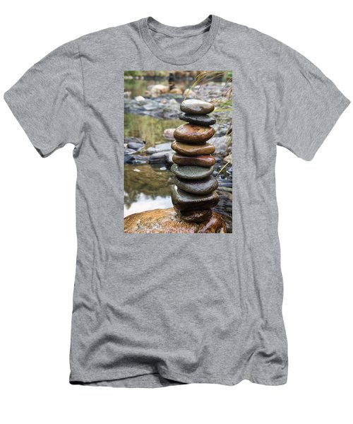 Balancing Zen Stones In Countryside River Vii Men's T-Shirt (Athletic Fit)