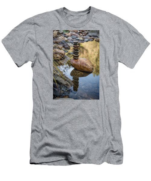 Balancing Zen Stones In Countryside River Viii Men's T-Shirt (Athletic Fit)