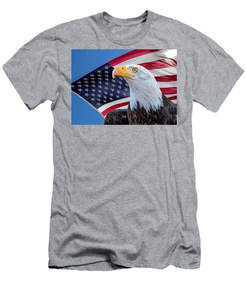 Bald Eagle And American Flag Men's T-Shirt (Athletic Fit)