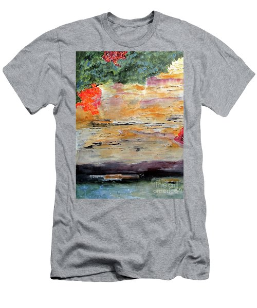 Men's T-Shirt (Slim Fit) featuring the painting Bank Of The Gauley River by Sandy McIntire