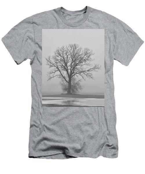 Bare Tree In Fog Men's T-Shirt (Slim Fit) by Nancy Landry