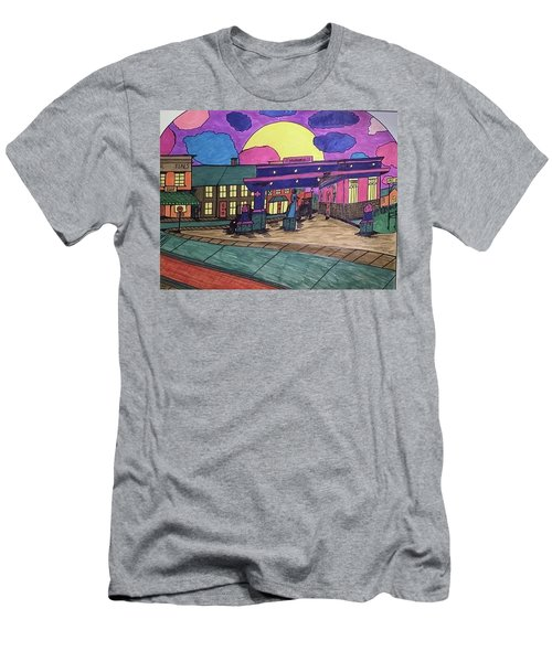 Men's T-Shirt (Slim Fit) featuring the drawing Barkhausen Filling Station. by Jonathon Hansen