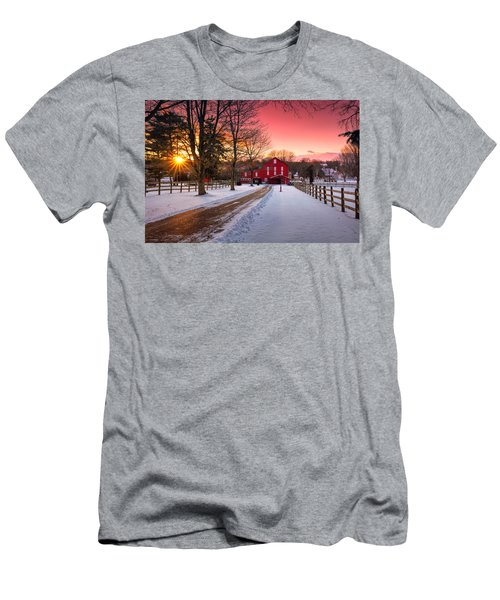 Barn At Sunset  Men's T-Shirt (Slim Fit) by Emmanuel Panagiotakis