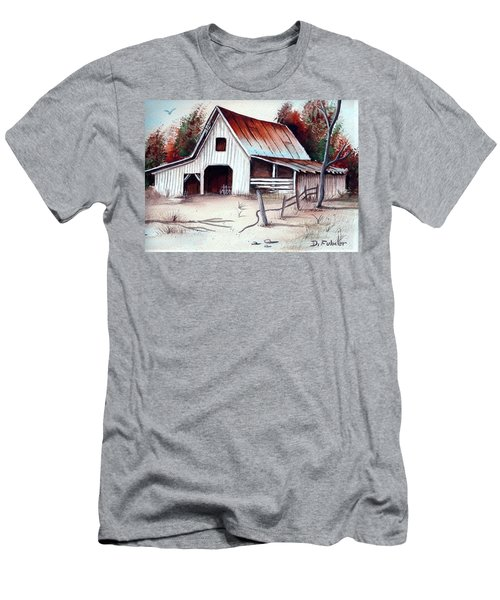 Men's T-Shirt (Slim Fit) featuring the painting Barn by Denise Fulmer
