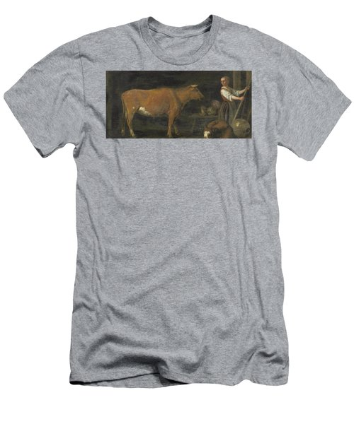 Barn Interior With A Milkmaid And Cattle Men's T-Shirt (Athletic Fit)