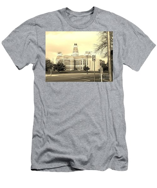 Bartholomew County Courthouse Columbus Indiana - Sepia Men's T-Shirt (Slim Fit) by Scott D Van Osdol