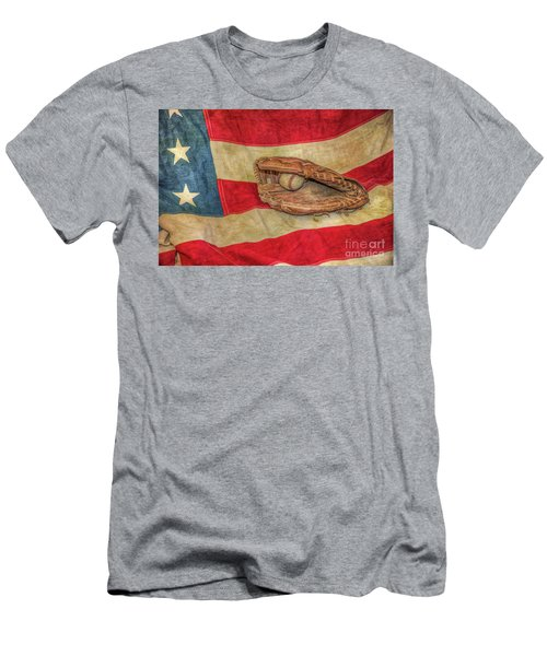 Baseball Glove And Ball On Us Flag Men's T-Shirt (Athletic Fit)