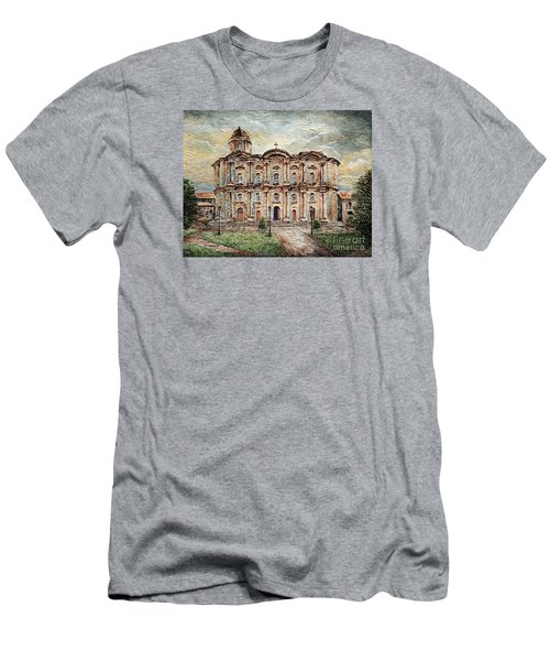 Men's T-Shirt (Slim Fit) featuring the painting Basilica De San Martin De Tours by Joey Agbayani