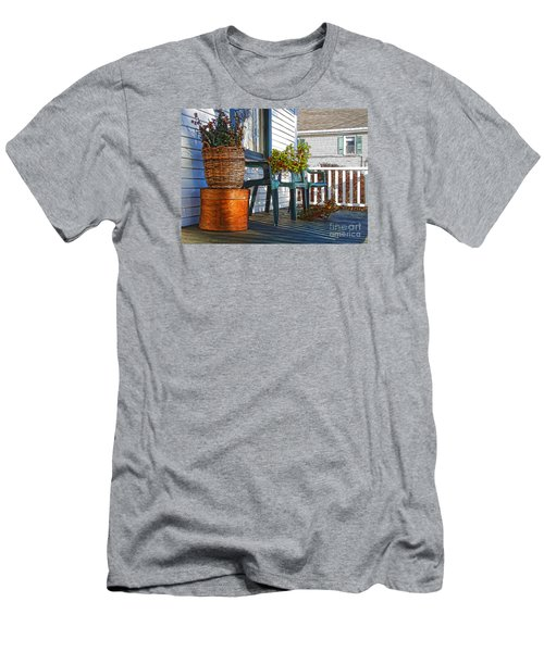 Men's T-Shirt (Slim Fit) featuring the photograph Basket Porch by Betsy Zimmerli