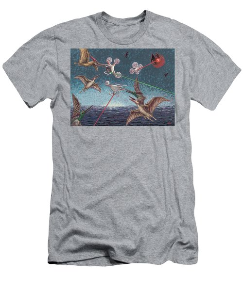 Battle Of Pterosaurs And Drones Men's T-Shirt (Slim Fit) by Holly Wood