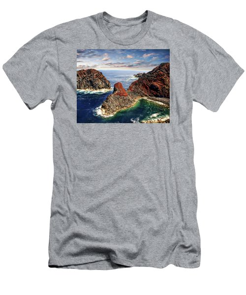 Bay Of Ponta Da Barca Men's T-Shirt (Slim Fit) by Anthony Dezenzio
