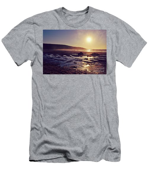 Men's T-Shirt (Slim Fit) featuring the photograph Beach At Sunset by Lyn Randle