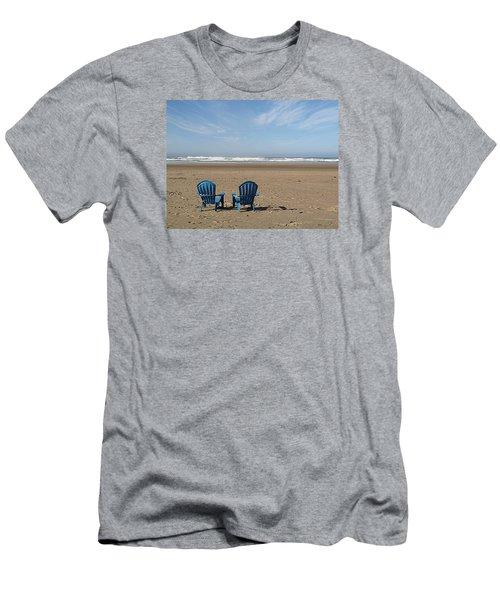 Men's T-Shirt (Slim Fit) featuring the photograph Beach Chair Pair by Suzy Piatt
